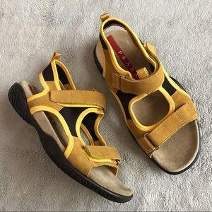 Prada Sport Suede Leather Sandals Giallo Nero 35.5